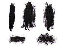 Uderzenia odizolowywający na białym tle czarna farba Obrazy Royalty Free