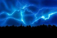 Uderzenie pioruna na niebie Fotografia Stock