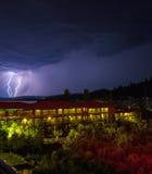 Uderzenie pioruna podczas nocy burzy, Chalkidiki Fotografia Royalty Free