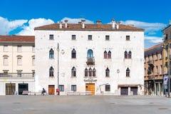Udine Italien: Typisk italienskt hus i Venetian stil Arkivfoto