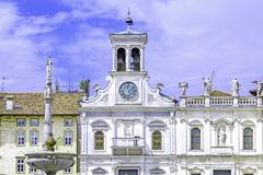 Udine, Italy. Church San Giacomo in town square in Udine, Italy stock images