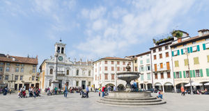 Udine, piazza Matteotti. Piazza Matteotti with the church of St. Jaames, a typical italian square, in the heart of Udine 9th April 2017 Stock Images