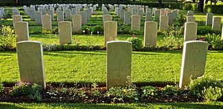 Udine's Commonwealth war cemetery. Some graves of the Commonwealth WW2 cemetery of Udine on a sunny evening Stock Photo