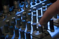 Аudio mixing console Stock Photo