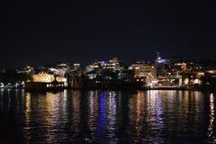 Udipur Indien på natten royaltyfri fotografi