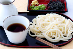 Udon. Japanese traditional thick white noodles called udon Royalty Free Stock Image