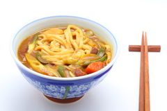 Udon cooked with curry topping Royalty Free Stock Image