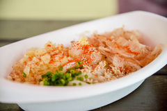 Udon with dry fish in foam bowl. 2 Royalty Free Stock Images
