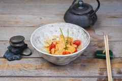 Udon with Fried Chicken and Vegetables Stock Photos
