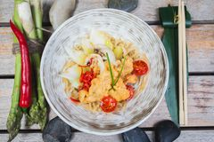 Udon with Fried Chicken and Vegetables Royalty Free Stock Photos