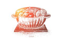Udon, Japanse soep, noedels werpt met vlees, groenten en narutoplakken, het oosterse menu van het voedselrestaurant royalty-vrije illustratie
