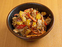 Udon with meat and vegetables Stock Photo