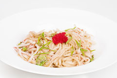 The udon needle with caviar and shrimps. On the plate Stock Photos