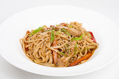 The udon needle with pork and vegetables Stock Photography