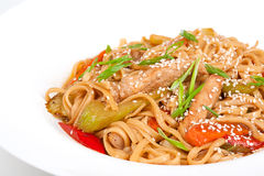 The udon needle with pork and vegetables Royalty Free Stock Photography