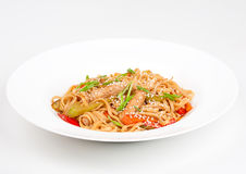 The udon needle with pork and vegetables Royalty Free Stock Photo