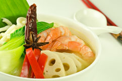 Udon noodle soup with shrimp Stock Photos