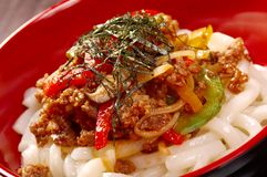 Udon noodles with beef tendon stew Royalty Free Stock Images