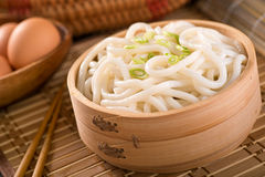 Udon Noodles. Delicious Japanese udon noodles with green onion Royalty Free Stock Photo