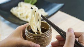 Udon Noodles Japanese cuisine. Cold Udon noodles for summer menu Royalty Free Stock Photos