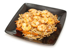 Udon noodles with prawns Royalty Free Stock Image