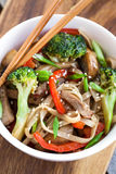 Udon noodles with vegetables Stock Photo