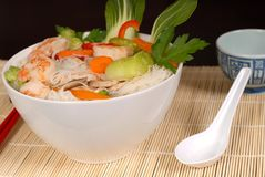 Udon noodles with vegetables and seafood and spoon Royalty Free Stock Photography