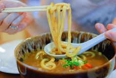 Udon. Noodles on the white table stock image