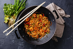 Free Udon Noodles With Shrimp In Wok Pan Stock Photography - 85225842