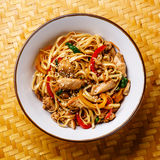 Udon stir-fry noodles with chicken meat Stock Photos