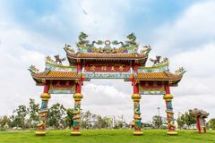 Udon Thani Tajlandia, 14 2018 Maj, Chińska kultury brama doo zdjęcia stock