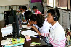 They are searching the data from computer. UDONTHANI, THAILAND – JULY 4, 2018 : Asian students, they are searching the data from computer, be the activity in Stock Photo