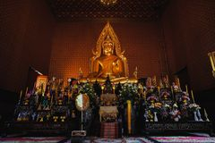 Udonthani Thailand , 6 Aug 2017 , In temple temple There are gol. Den yellow Buddha statues for the general public to pay homage to worship stock image