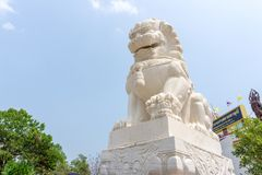 White marble Chinese guardian lion sculpture. UDONTHANI, THAILAND - MARCH 17, 2018 : White marble Chinese guardian lion sculpture in front of entrance to stock photo