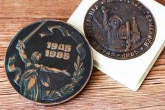 UDSSR-Abzeichen und Ordnungen Preis für Tapferkeit Das Gedächtnis des Sieges Lizenzfreie Stockfotos