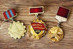 UDSSR-Abzeichen und Ordnungen Preis für Tapferkeit Das Gedächtnis des Sieges Stockfotografie