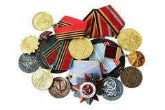 UDSSR-Abzeichen und Ordnungen Preis für Tapferkeit Das Gedächtnis des Sieges Lizenzfreie Stockbilder