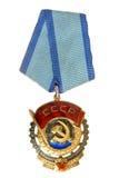 UDSSR: Bestellung der roten Fahne der Arbeit, die Aufschrift Proletarier der Welt tragend, vereinigen! Stockfotografie
