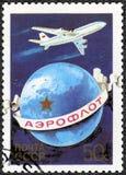 UDSSR - 1983: engagierter 60. Jahrestag von Aeroflot-Fluglinien Lizenzfreie Stockfotografie