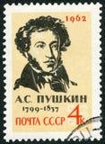 UDSSR - 1962: zeigt Porträt von Alexander Pushkin 1799-1837, Dichter Stockfotografie