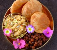 udyapan的印度节日prasad膳食 免版税图库摄影