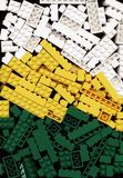 Udział biały, kolor żółty i zieleń Lego cegieł gry tło, Obraz Royalty Free