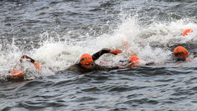 Udziały żeński triathletes pływać Obrazy Stock