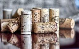 Udział wino butelki korki zdjęcia royalty free