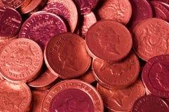 Udziały czerwone Brytyjskie Funtowe monety Zdjęcie Royalty Free