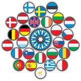 UE bajo la forma de engranajes Foto de archivo
