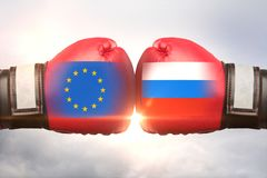 UE contra o conceito de Rússia foto de stock royalty free