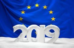 UE 3d-illustration da neve 2019 ilustração royalty free