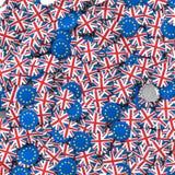 UE de Brexit e fundo BRITÂNICO dos crachás ilustração stock