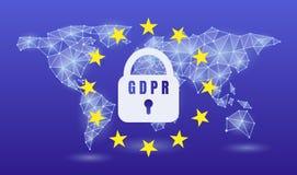 UE de regla del general protección de datos de GDPR, en un fondo de neón del mapa del mundo Ilustración del vector ilustración del vector